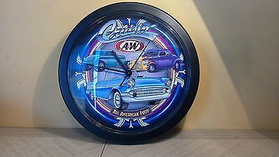 A & W ROOT BEER SIGN WALL CLOCK~CRUISIN! All-American Food! Made in USA!