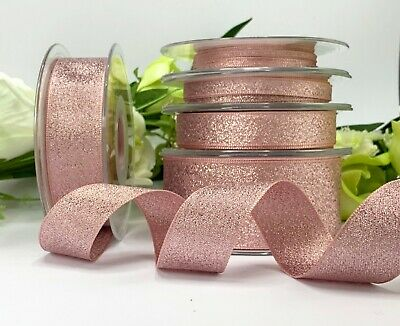 Rose Gold Metallic Lame Ribbon - Sparkle Wedding Christmas Bow Gift Tree Cake