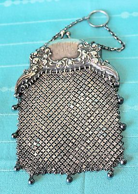 Vintage STERLING SILVER MESH PURSE with Chatelaine Ring, Hallmarked, 120 grams