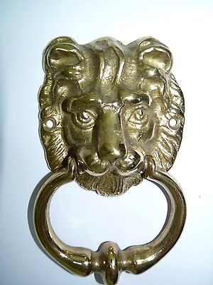 Antique/Vintage Bronze Fearsome Lion's Head Door Knocker, Sand Cast, H 8.3 cm