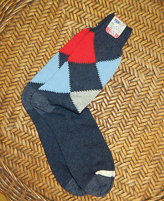 VINTAGE ARGYLE SOCKS cotton USA deadstock TUFknit hosiery uk size 6/7