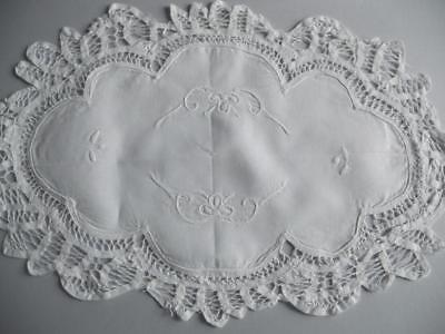 Vintage White Cotton? Battenburg Tape Lace Oval Table Mat Embroidered Whitework