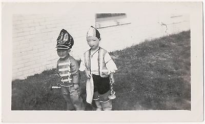 BIZARRE! UNUSUAL ORIGINAL c.1940s HALLOWEEN Photo BOYS in MASKS at CANTED ANGLE