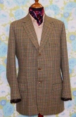 "vtg tweed jacket leather working cuffs HICKS Savile Row 1974 bespoke 44"" e/ long"