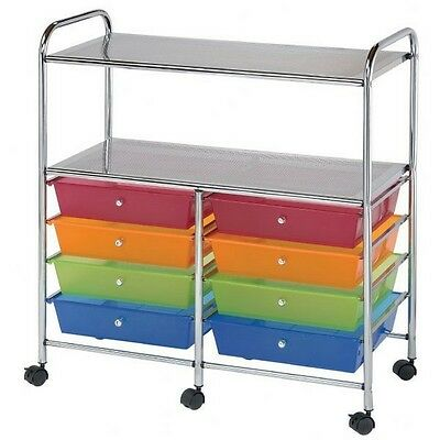 Blue Hills Studio Storage Cart 8-Drawer (Wide) with 2-Shelf Multi-Colored NEW