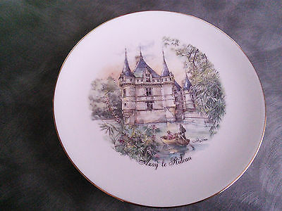 Limoges Fine Porcelain Plate Decorated With Picture Of Chateau Azay Le Rideau Fr
