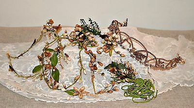 Antique French Wax Headdresses x 2,Corsages x 3, Beaded Tiara -For Repair /Craft
