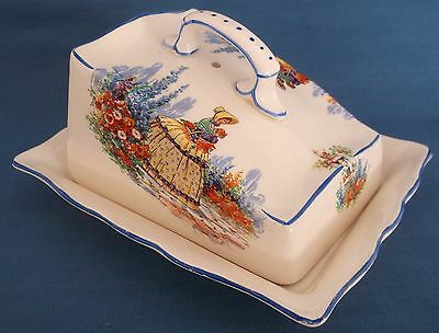 Vintage Crinoline Lady English Garden Cheese Butter Dish Table Kitchen England
