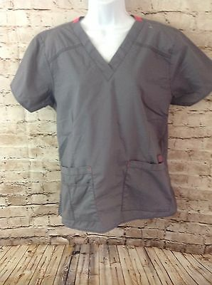 Women's Wonder Wink Flex V Neck Scrub Top Gray Size Large