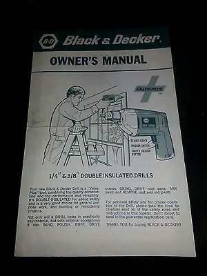 Black and Decker Owners Manual Double Insulated Drills