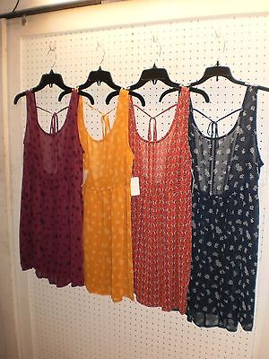 BONGO Jr. Sleeveless Tie Back Woven SHEER Tank Dress/Top/Cover-Up FREE Shpg NWTA