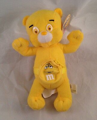 """Yellow M&M Candy Bear Fanny Pack Plush Toy Teddy Licensed Nanco 6"""""""