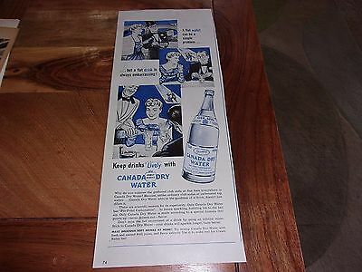 """1940's Canada Dry Water Original Print Advertisement-""""Keeps Drinks Lively"""""""