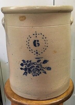 Antique Stoneware Crock Blue Marked 6 With Flower