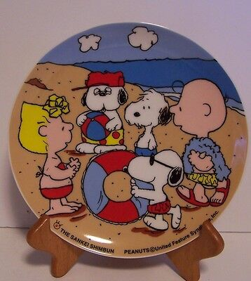 Snoopy Beach Plate Olaf Charlie Peanuts Andy Advertising Sankei Shimbun Japan