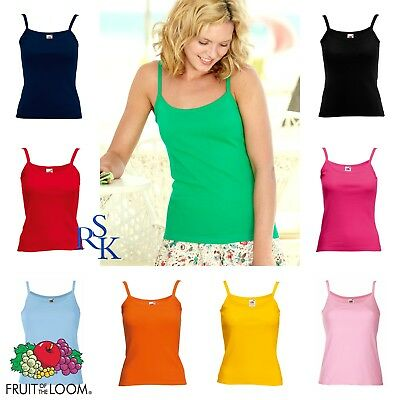 STRAP VEST TOP Fruit Of The Loom Lady Fit Rib Fitted Plain Ladies women Vest Top