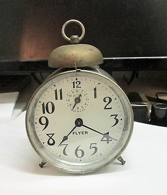 "Ingraham ""flyer"" Alarm Clock Running      Collectible/antique"