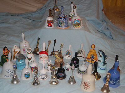 Large Lot 39 Collectible Bells, Crystal, Porcelain, Metal, Souvenir Landmarks