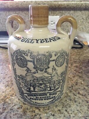 Two (2) The Greybeard Heather Dew Whisky Mitchell Bros Liquor Jug Crock Scotland