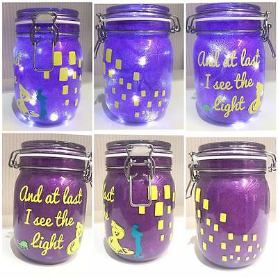 Personalised Tangled Rapunzel Glitter Night Light Jar