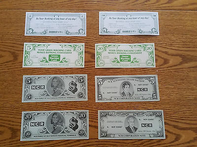 Ncr/diebold Atm Test Currency-1980`s-8 Pc Lot