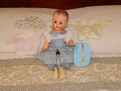 Vintage Ideal Doll Betsy Wetsy with Clothes, Bottle Bag, Bottle, Shoes & Booties