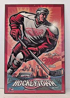 Detroit Red Wings Caricature Miller Beer Hockeytown 1997 Bar Sign Free Shipping
