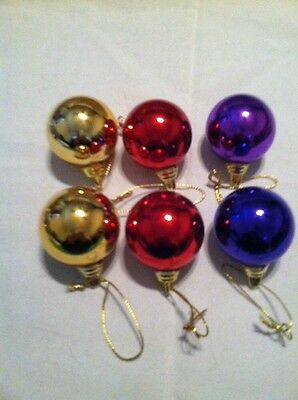 Red Gold And Purple Mini Balls Christmas tree Ornament Lot Of 6