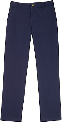 Boys School Uniform Pants Navy Size 6 Classic Flat Front Adjustable Waistband