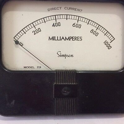 Used:SIMPSON MODEL 29 PANEL METER 1000 MA. DC F.S.