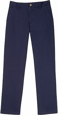 Boys School Uniform Pants Navy Size 8 Classic Flat Front Adjustable Waistband
