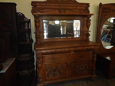 Antique Oak Sideboard With Lion Heades