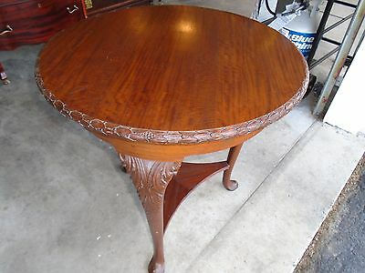 Antique Round Walnut Stand With Fatty Carved Leges