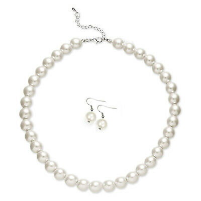 """Faux Pearl White Necklace Earring Set Wedding Bridesmaid Women Girl 16"""" Ivory"""