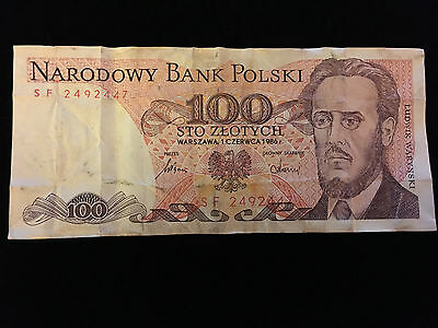 100 Zlotych Note - Ludwik Warynski 1986 - Polish Paper Currency