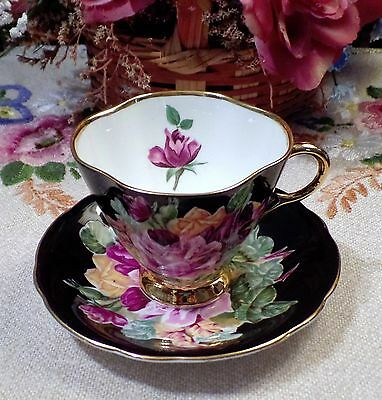 Clarence English Bone China Teacup and Saucer Black & Cabbage Roses