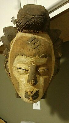 Vintage/Antique African Carved Wood Mask Artifact Handmade Congo