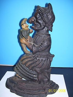 Antique Punch & Judy Door Stop With Cat At Her Side In Origina Black Finish Nice