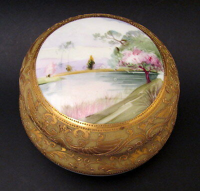 Antique Hand Painted Porcelain Nippon Trinket Box M in Wreath Mark 1900