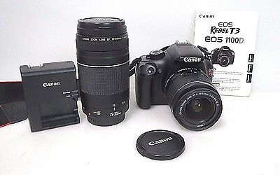 Canon Rebel EOS T3 + 18-55 mm + 75-300 mm Lenses Case Charger
