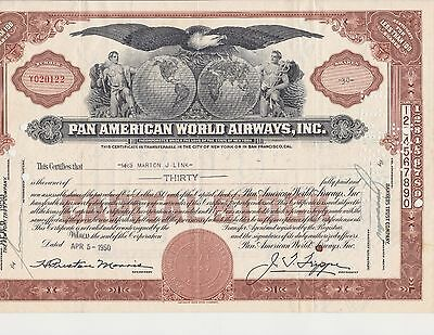 1950's Pan American World Airways Capital Stock Certificate 30 Shares