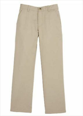 Boys School Uniform Pants Tan Size 8 Classic Khakis Flat Front Adjustable Waist