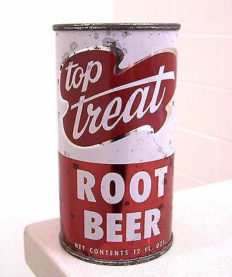**vintage TOP TREAT Root Beer indoor flat top prezip soda can from Chicago, IL