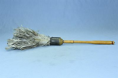 Antique OSTRICH STANDARD COUNTRY STORE FEATHER DUSTER TURNED WOOD HANDLE #04066