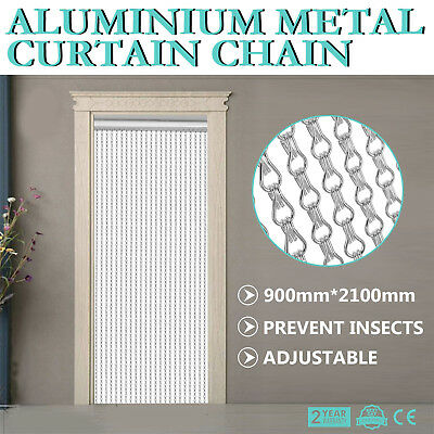 Aluminium Fly Pest Door Screen Easily Adjust Chain Curtain Insect Control GREAT