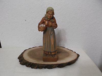 """Good Quality Vintage Hand Carved & Painted 8"""" Standing Woman Wood Carving"""