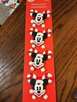 Mickey Mouse Santa Claus, Candy Cane Button Covers - Hallmark