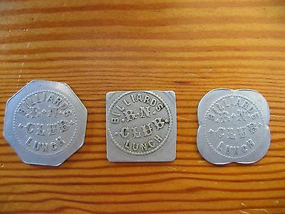 Vintage Lot (3) Roben & Newell Billiards Club Good For Trade Tokens Longview WA