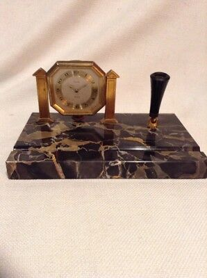 Rare 1927 ELGIN 8 Day Pocket Watch/Pen Clock On Marble Base w/pen Holder