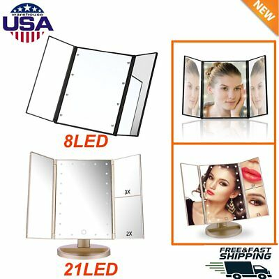 Led Lighted Vanity Mirror Make Up 8/21 Led Lights Touch Screen +Stand